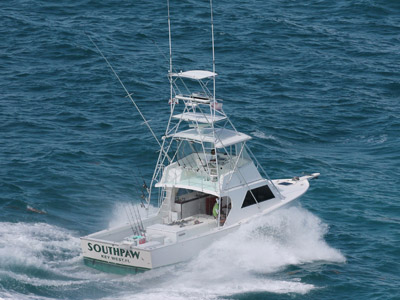 Starboard stern side of fishing vessel Southpaw in Key West waters