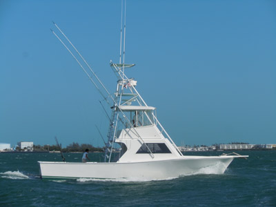 Starboard side of southpaw floating in key west waters