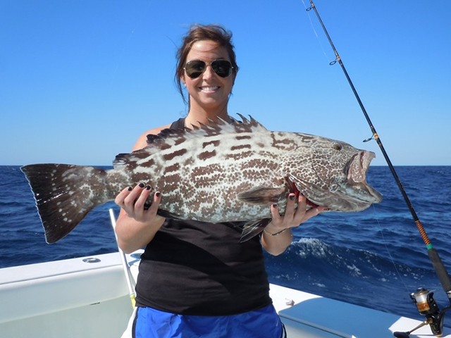 Woman holding a nice black grouper