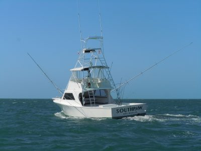 Stern view of the Southpaw on the Key West fishing grounds