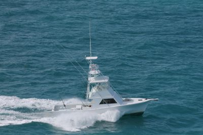 Aerial view of the Southpaw fishing charter boat