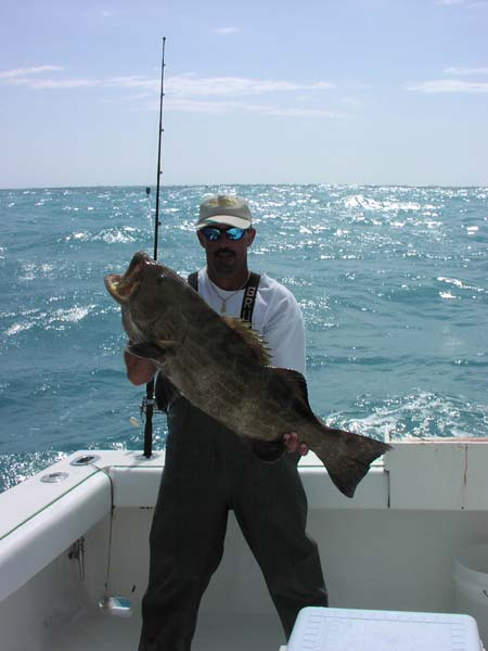 Man holding a black grouper
