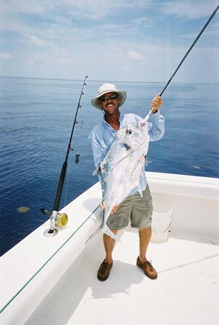 Client holding an african pompano on the key west waters