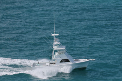 Starboard side of fishing charter boat Southpaw in key west