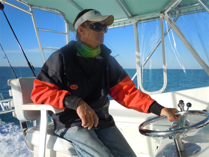 Capt Brad Simonds at the helm of the Southpaw